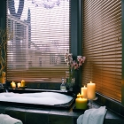 Everwood Faux Wood Blind in Bathroom