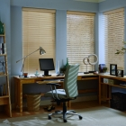 Faux Wood Blind in Office