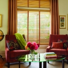 Large Slat Wood Blind with Decorative Tapes