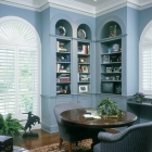 Half Circle Window with Plantation Shutters