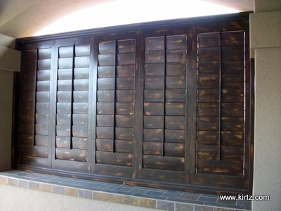 exterior shutters with a sand through finish