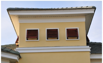 fixed louvered shutters by Kirtz, bahama style