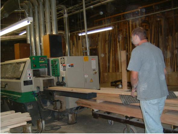 lumber being milled into components for plantation shutters