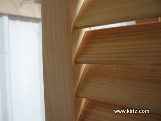 Close up of fixed louvers for bahama shutters