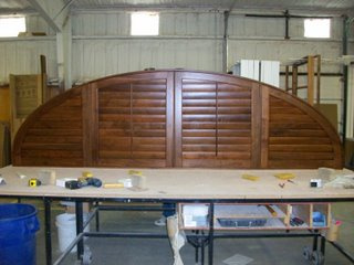 """This walnut shutter spanned over 136"""" wide"""