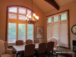 Painted Shutters with Stained Casing