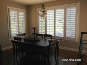 """after adding 4 1/2"""" maple wood plantation shutters by Kirtz Shutters"""