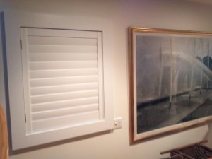 This close up show the simple lines that were made possible by custom framing with Kirtz Shutters.