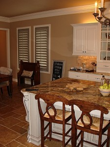 Grey Center Island with shutters